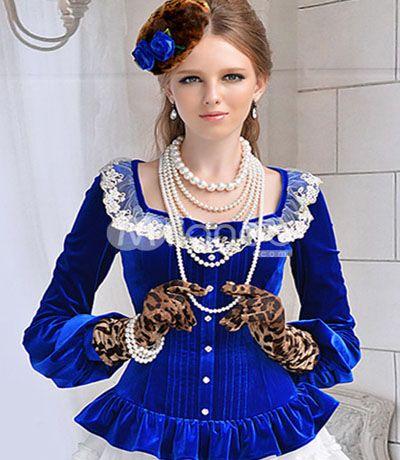 بلوزة كم كامل قبة مربعة لون ازرق High Fashion Street Style Victorian Fashion Fashion Clothes Women