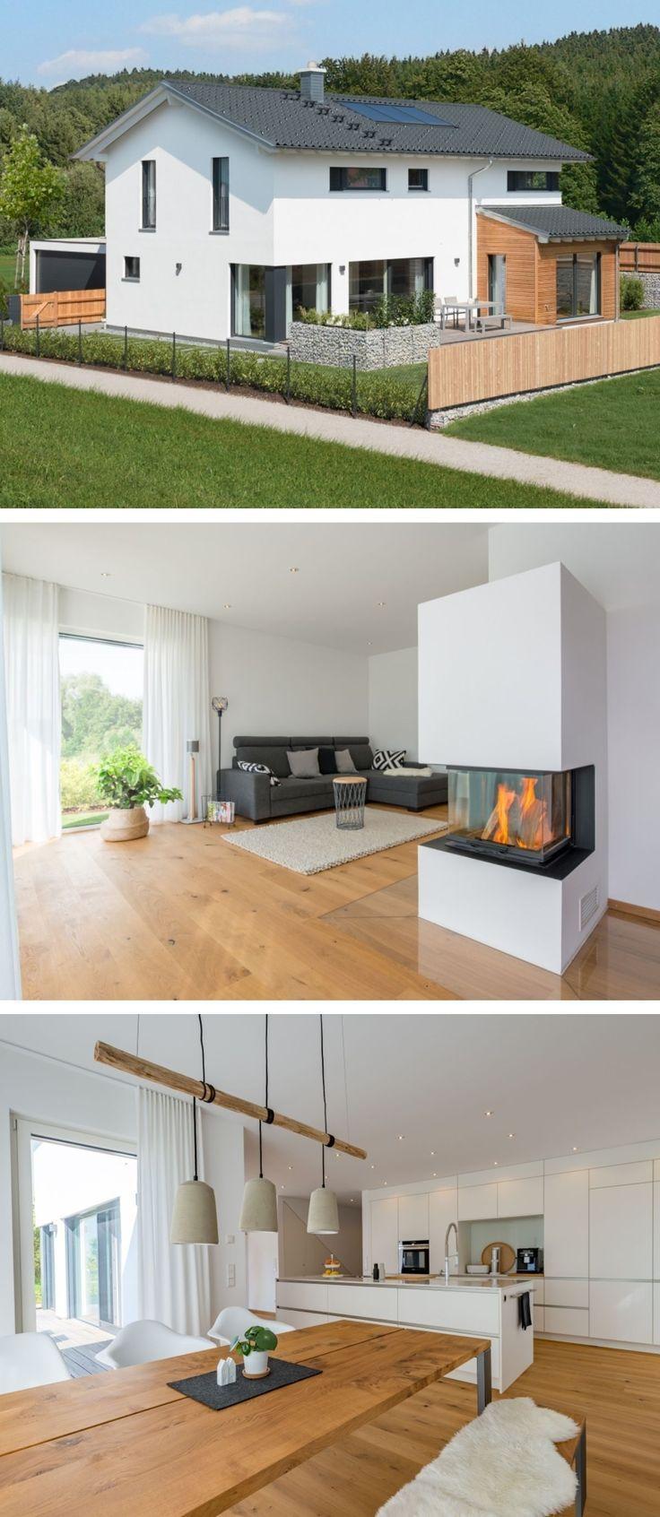 Einfamilienhaus modern im Landhausstil mit Holzfassade, Satteldach Architektur &... , #Archi...