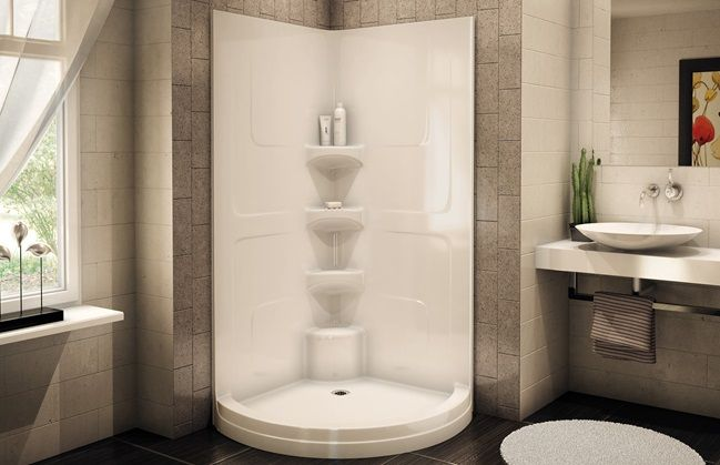 Aker Acsh Rd One Piece Round Corner Shower Three Level Built In