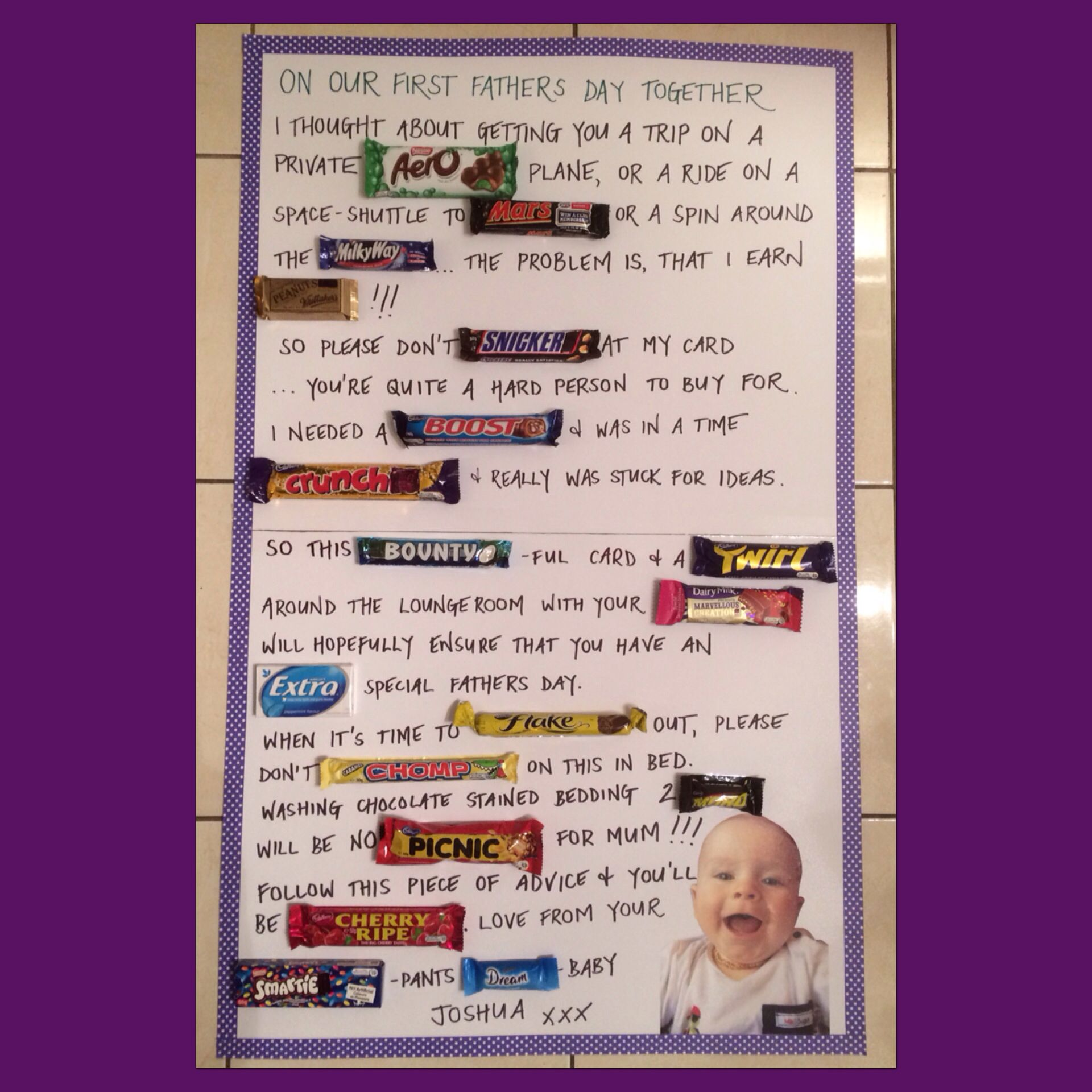 Fathers day card for dad made with chocolate bars