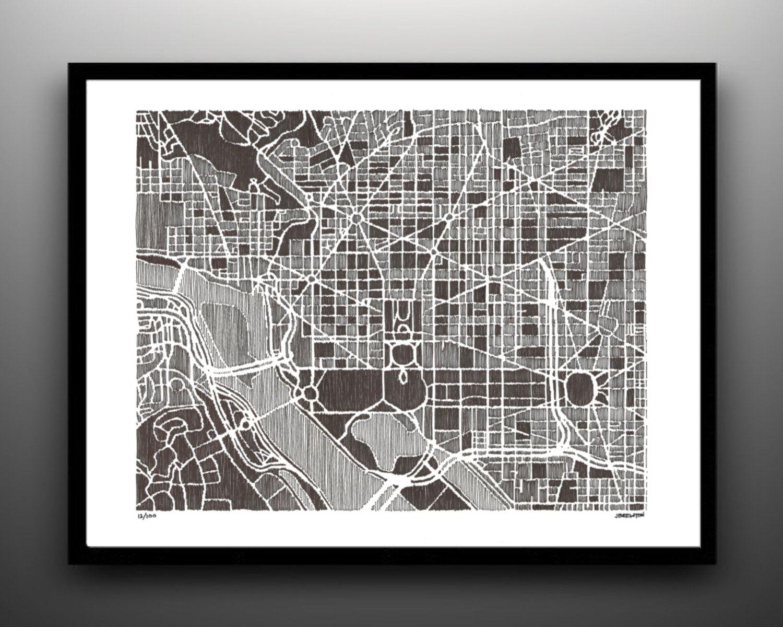 Map ART PRINT 11x14 Washington DC