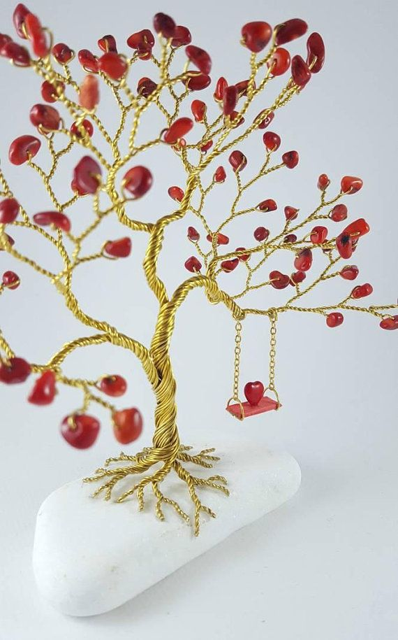 Tree of Heart Wire Tree Sculpture Gemstone Tree Red Coral | Bonsai ...