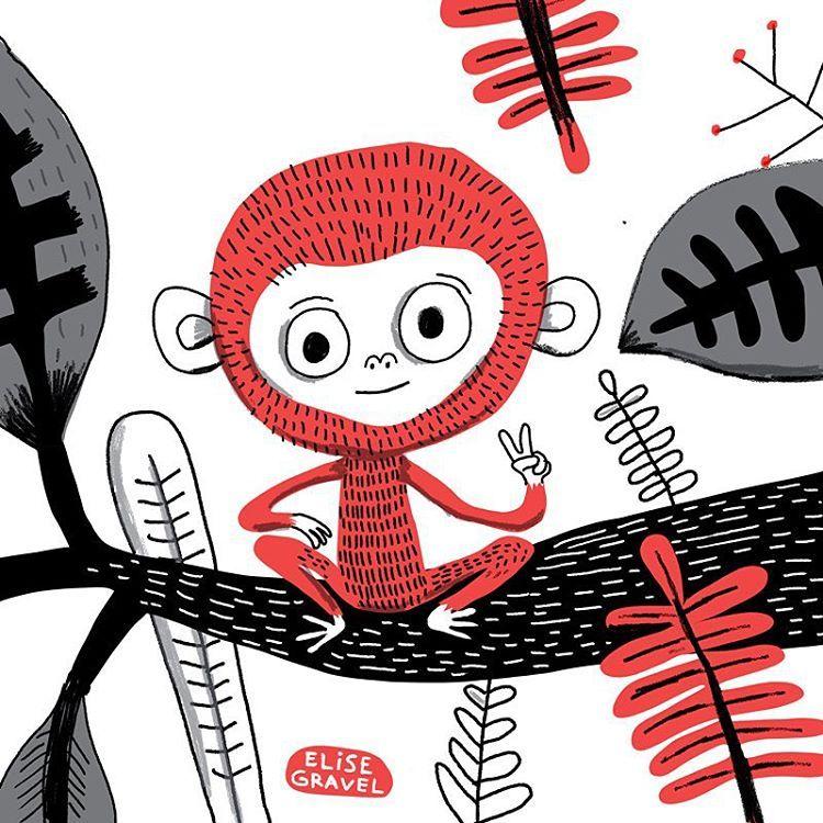 Black and red monkey illustration illustrationoftheday