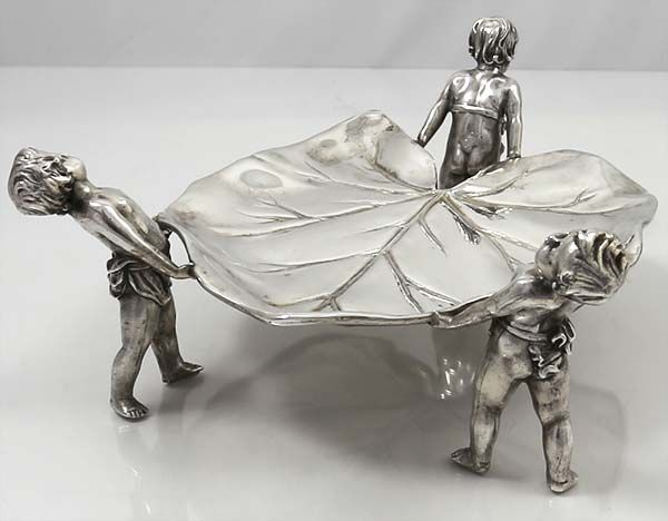 German 800 silver leaf tray supported by three figural  putti
