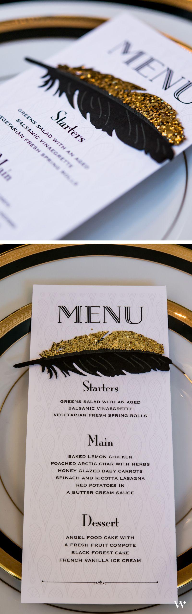 Black and Gold Opulence Menu Card | 20er, 20er jahre und Geburtstage