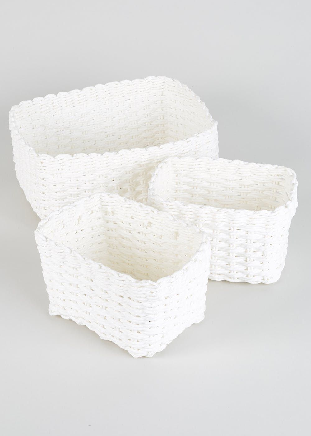 Set Of 3 Paper Rope Storage Baskets U2013 White U2013 Matalan