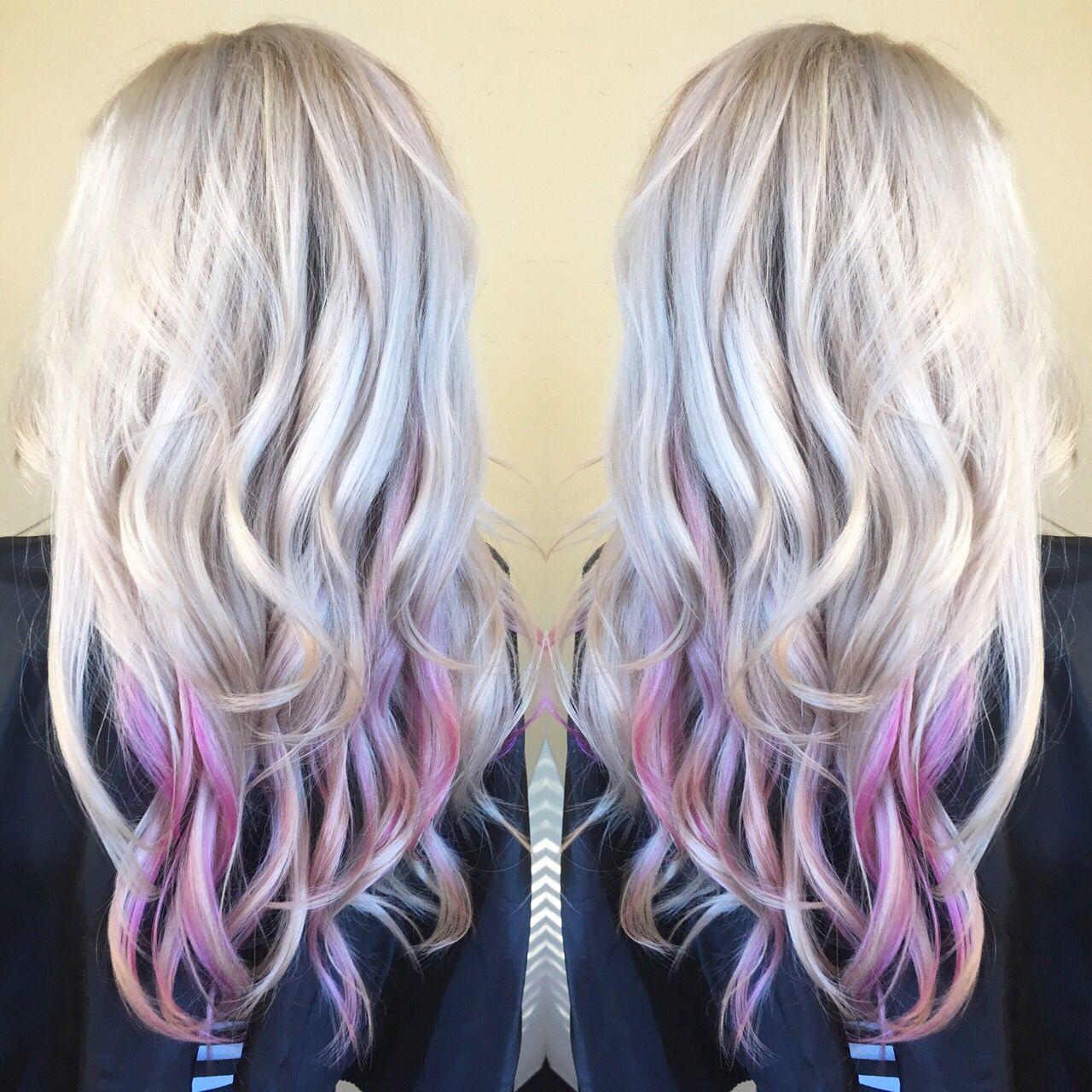 Best Hairstyle For One Shoulder Wedding Dress Pink Blonde Hair Platinum Blonde Hair Peekaboo Hair