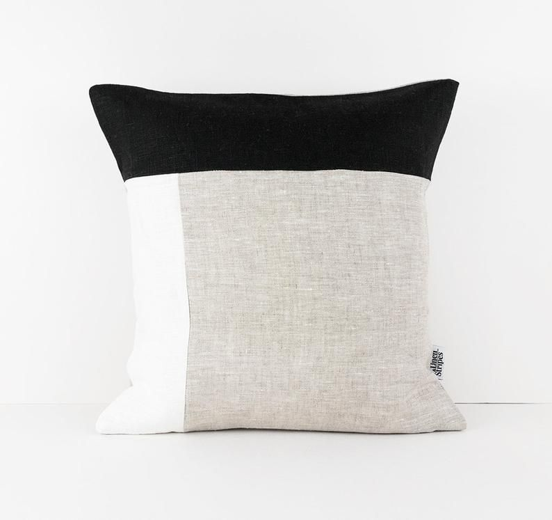 Color Block Pillow Covers In Black White Beige Linen Cushion Cover Geometric Linen Pillow Sham Black And White Cushion Cover 50x50 Pillow Black And White Cushions White Cushion Covers Linen Cushion