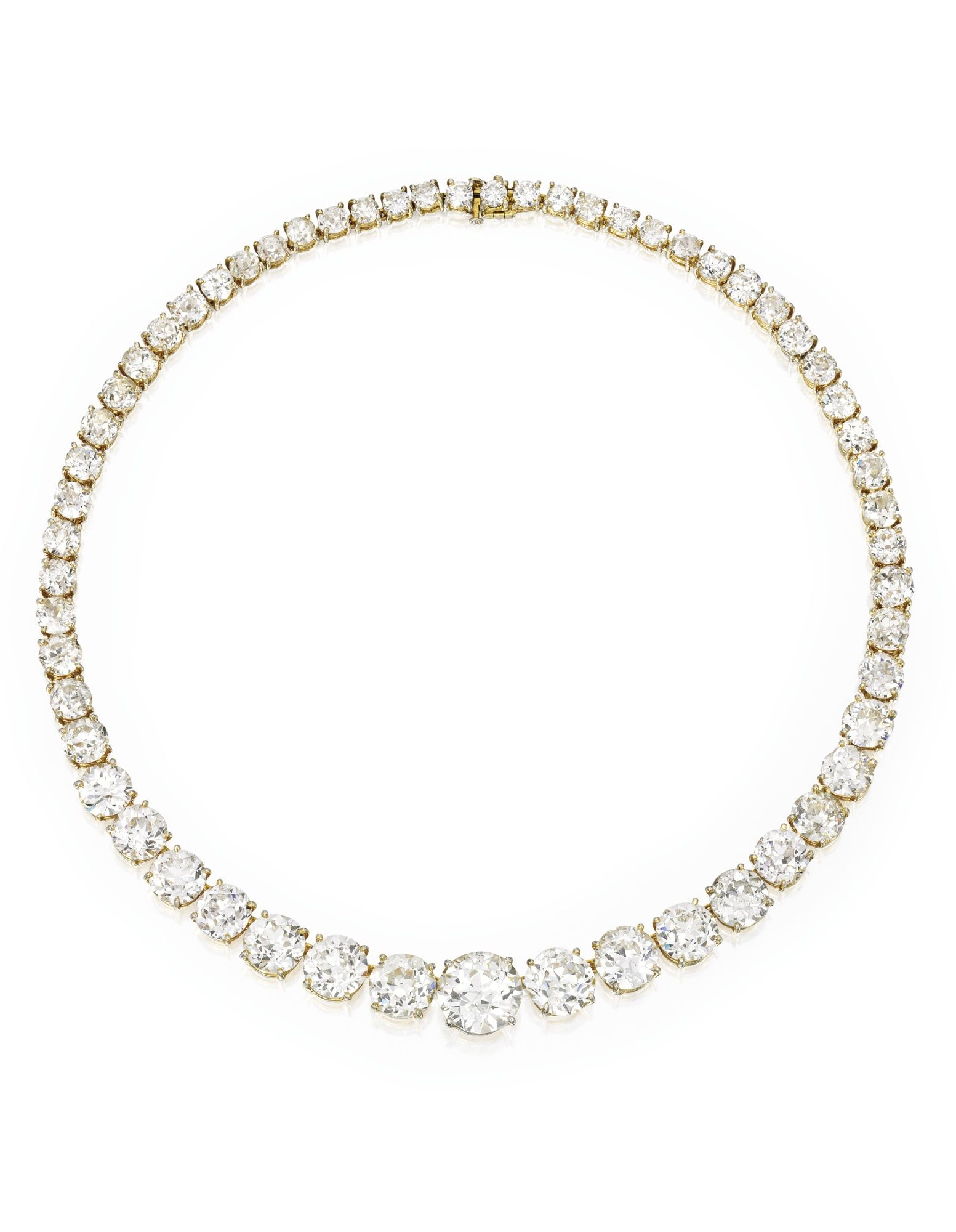 Gold and Diamond Rivière Necklace, Van Cleef & Arpels Centered by an old European-cut diamond weighing 6.04 carats, further set with 57 graduating old European-cut diamonds weighing approximately 50.75 carats, length 14 inches, signed V.C&A., numbered 1230SO; together with an antique style gold and silver necklace mounting.