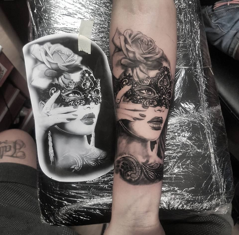 Masquerade portrait tattoo by Saul! Limited appointments available ... - Tattoo Studio Bielefeld