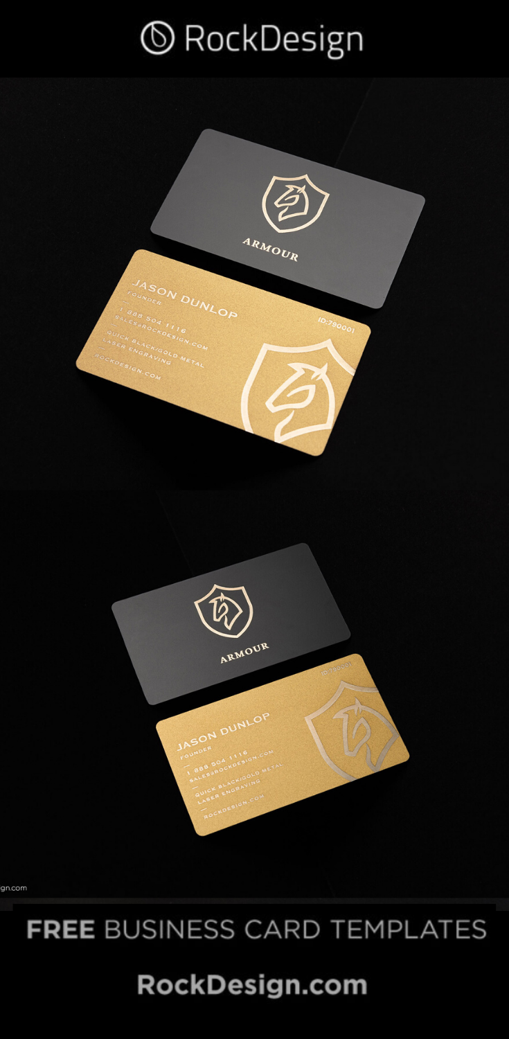 Bold Black Gold Laser Engraved Metal Business Card Template Design Armour Metal Business Cards Business Card Template Design Luxury Business Cards