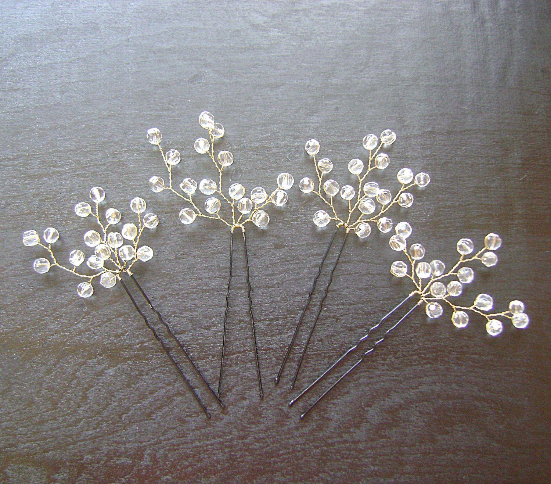 bridal hair pins with glass crystals and pearls, bridal hair