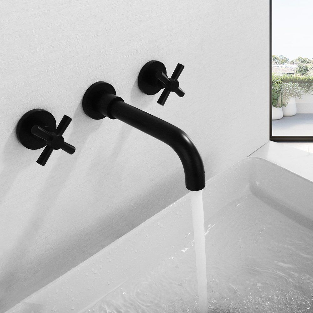 Matte Black Bathroom Faucet Double Cross Handles Wall Mount Bathroom Sink Faucet Wall Mount Faucet Bathroom Sink Wall Mounted Bathroom Sinks Bathroom Faucets [ 1000 x 1000 Pixel ]
