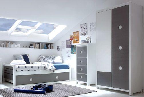 Habitaci n juvenil en blanco y gris deskontalia productos descuentos del 70 dormitorios - Habitaciones juveniles blancas ...