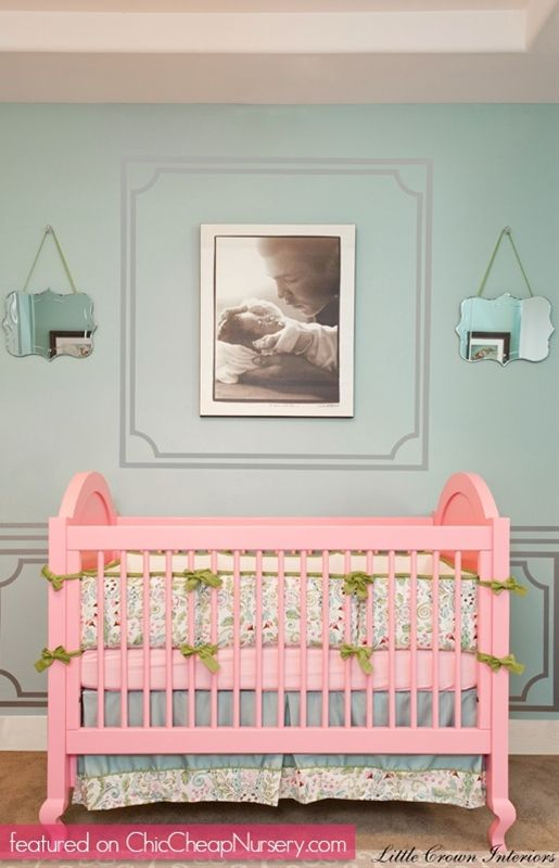 Laila Ali\u0027s Celebrity Nursery Pink and Green Traditional Girly Chic