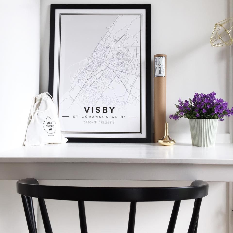 Poster design 50x70 - Map Poster Of Visby Sweden Print Size 50 X 70 Cm Custom Black