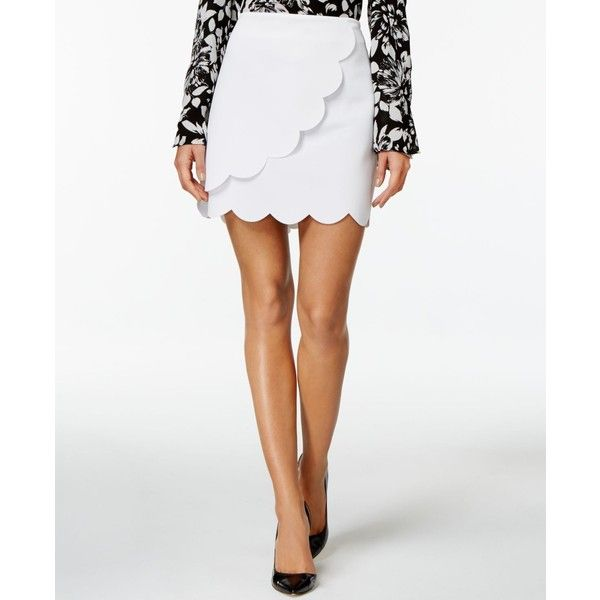 Grace Elements Scalloped Faux-Wrap Mini Skirt ($42) ❤ liked on Polyvore featuring skirts, mini skirts, bright white, scalloped mini skirt, short miniskirt, faux wrap skirt, short skirts and short wrap skirt