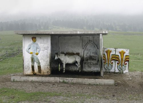 Christopher Herwigs photograph of a bus stop in the Altai http://ift.tt/1hYoxTg