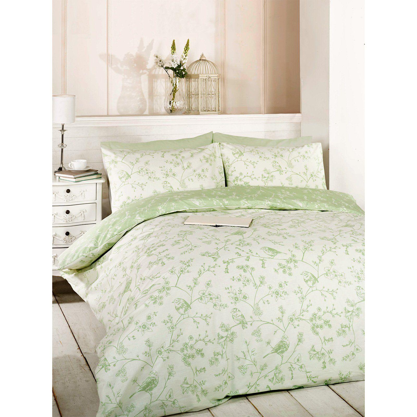 Blossom Fl Bird Duvet Cover Reversible Green Bedding Set With Pillow Case Double