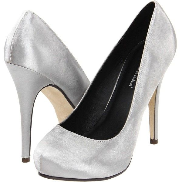 Michael Antonio Love Me Satin High Heels, Silver ($31) ❤ liked on Polyvore featuring shoes, pumps, heels, silver, heels & pumps, silver round toe pumps, silver high heel pumps, silver platform shoes and platform pumps
