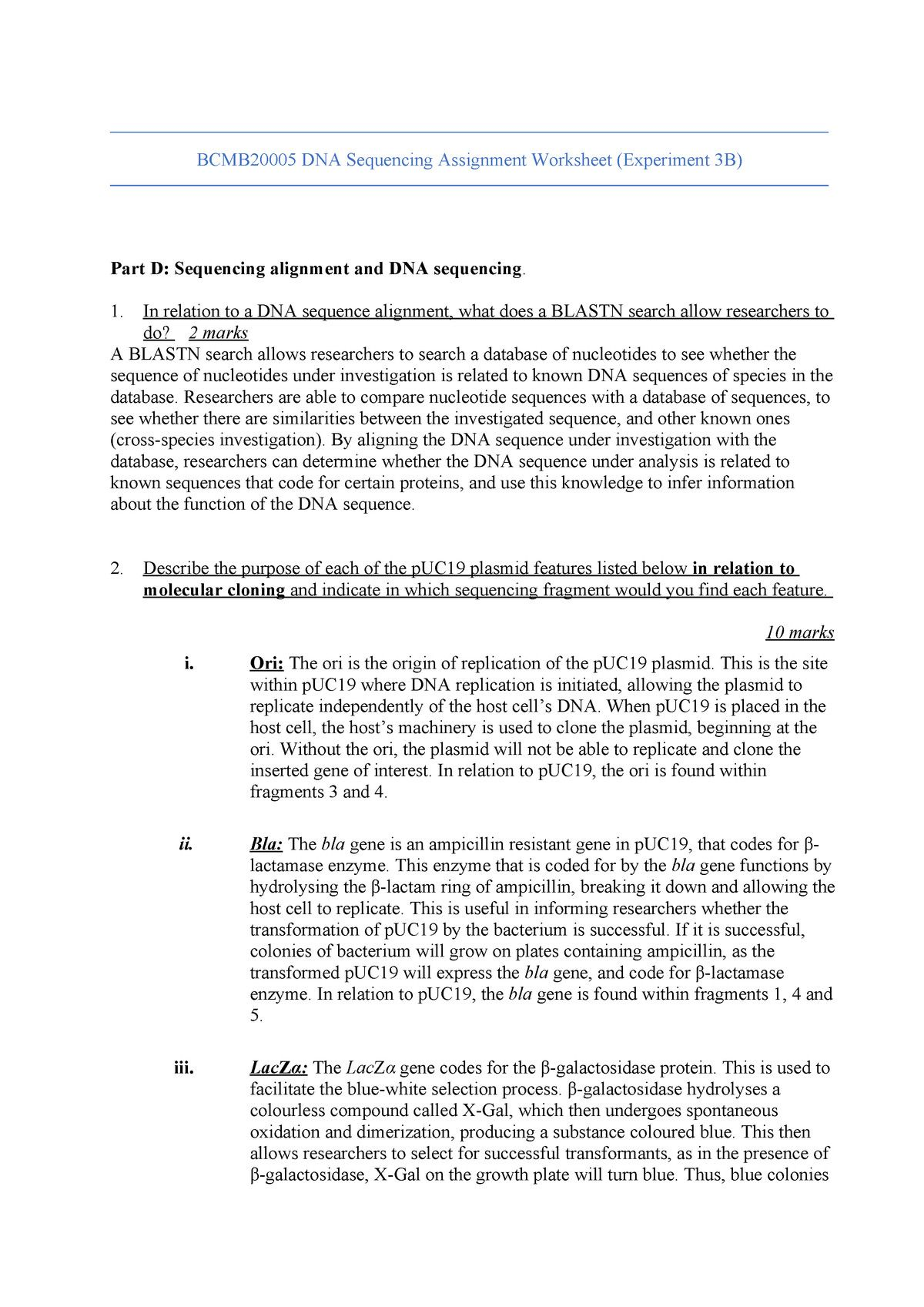Dna Sequencing Assignment Bcmb Techniques In Molecular