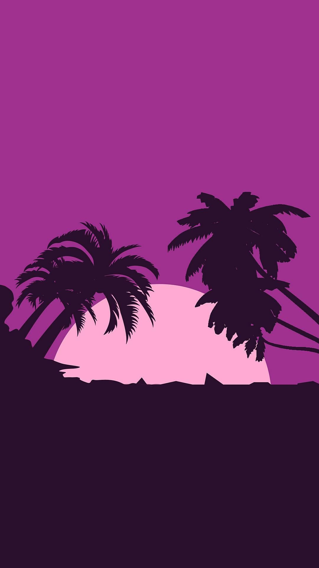 Minimalist Android FHD Pink Palm Tree Transparent Background ⋆ Traxzee