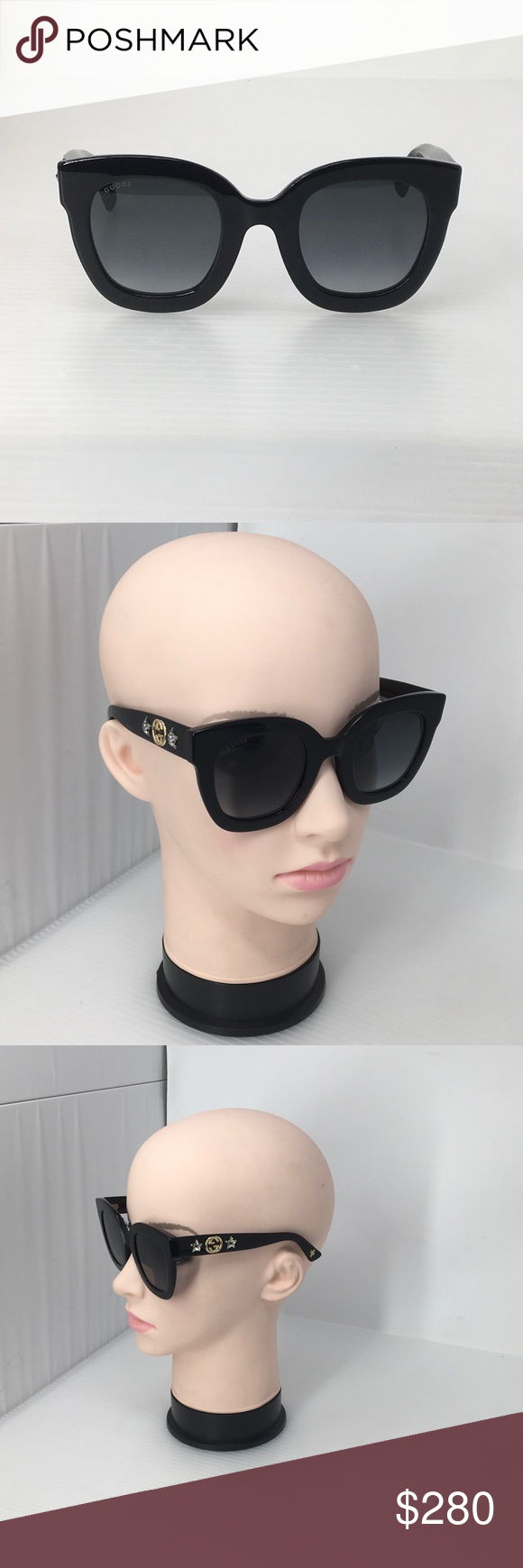 28c4af242b Gucci Round Frame Acetate Sunglasses with Stars Department store return.  Black acetate frame - Black acetate temples with interlocking G and crystal  star ...