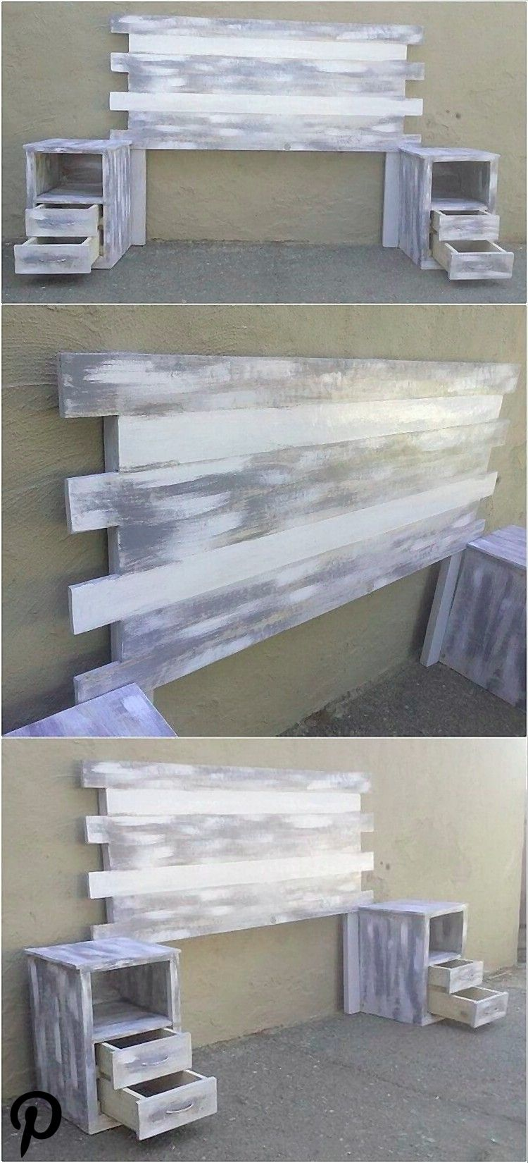 Distressed Color Wooden Pallet Headboard Idea Here we have idea for you to make a classic headboard Distressed Color Wooden Pallet Headboard Idea Here we have idea for yo...