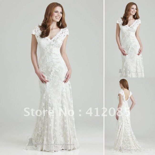 Style V Neck Short Sleeves Sweep Train White Lace Wedding Dresses J