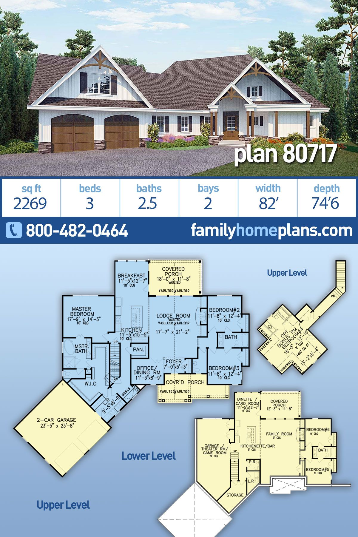 Craftsman Style House Plan 80717 With 3 Bed 3 Bath 2 Car Garage Craftsman Style House Plans Craftsman House House Plans Farmhouse