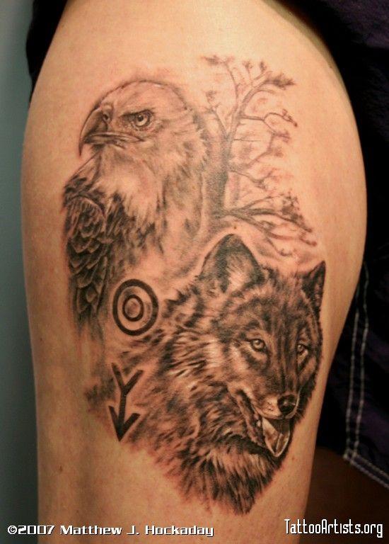 95ea9747c Wolf and Eagle Wildlife   Tattoo   Wolf tattoos, Wildlife tattoo ...