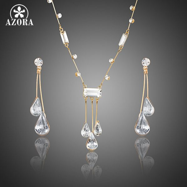Elegant Gold Color Stellux Austrian Crystal Water Drop Earrings and Pendant  Necklace Jewelry Sets TG0192 4e24a99e2ec4