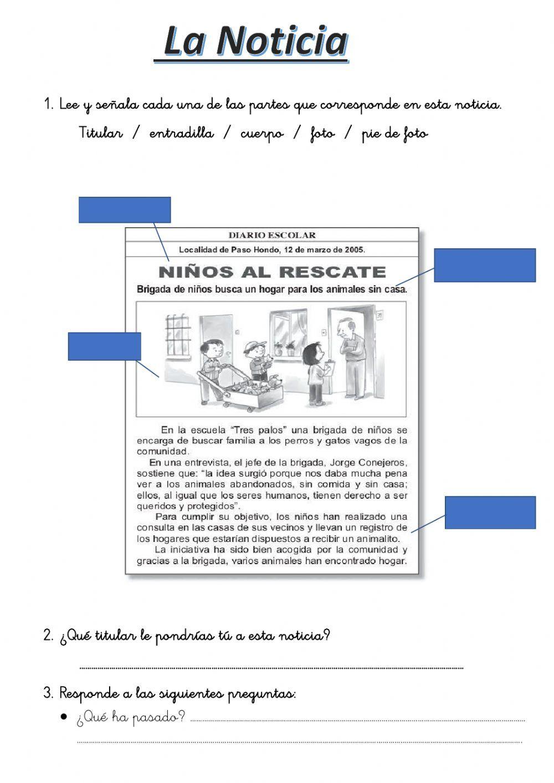 La Noticia Ficha Interactiva Portadores De Texto Texto Informativo Tipos De Texto