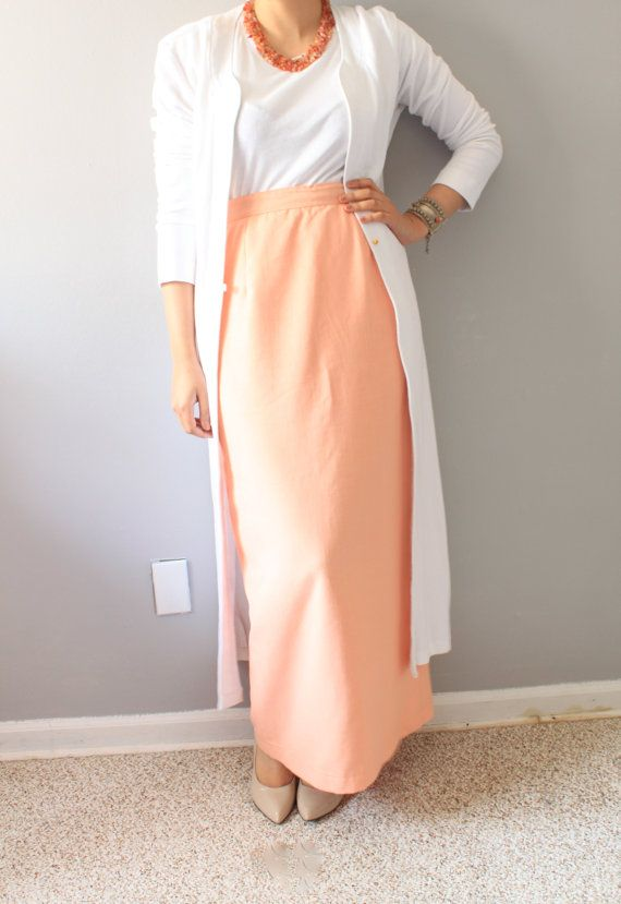 Long Midi Peach Skirt/Vintage Skirt/Slim Skirt /Peach color/high ...