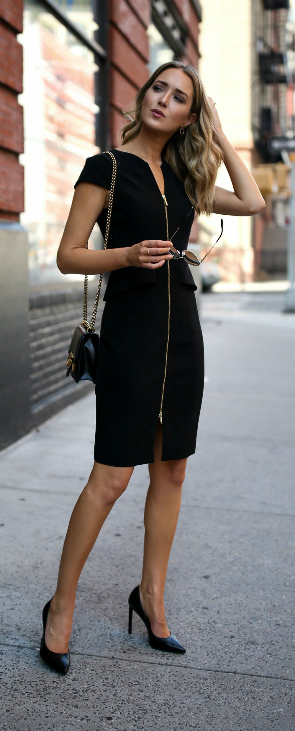 Classic Black Sheath Black Peplum Front Zip Sheath Dress Classic Black Pumps Oversized Sunglasses Ted Fashion Office Fashion Women Classic Style Outfits [ 2472 x 1000 Pixel ]