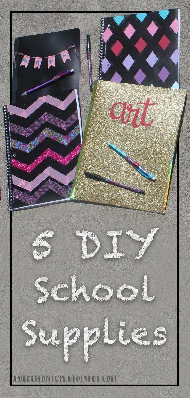 Pugdemonium: 5 Cute DIY School Supplies Ideas! #backtoschool #diyschoolsupplies #school