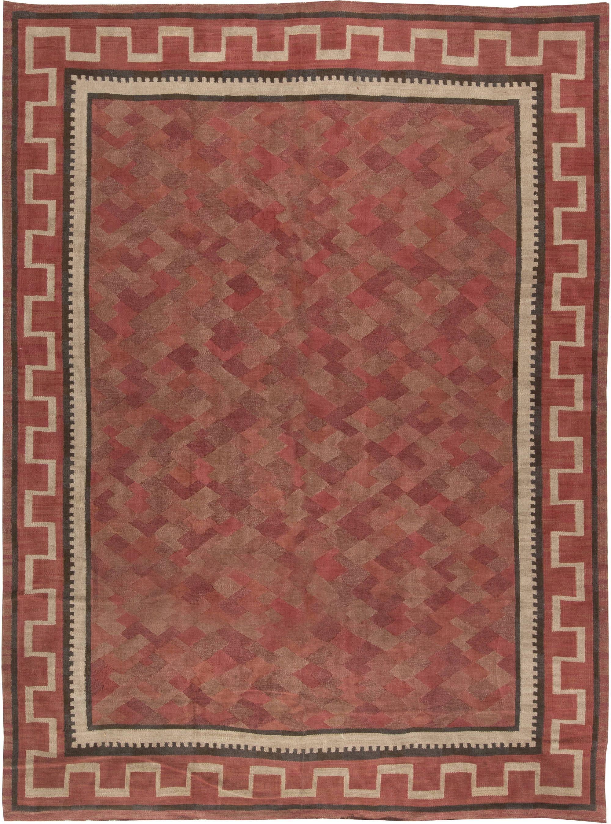 Swedish Midcentury Red Burgundy And Carmine Flat Woven Wool Rug Bb6474 By Dlb Scandinavian Rug Flat Weave Flat Weave Rug