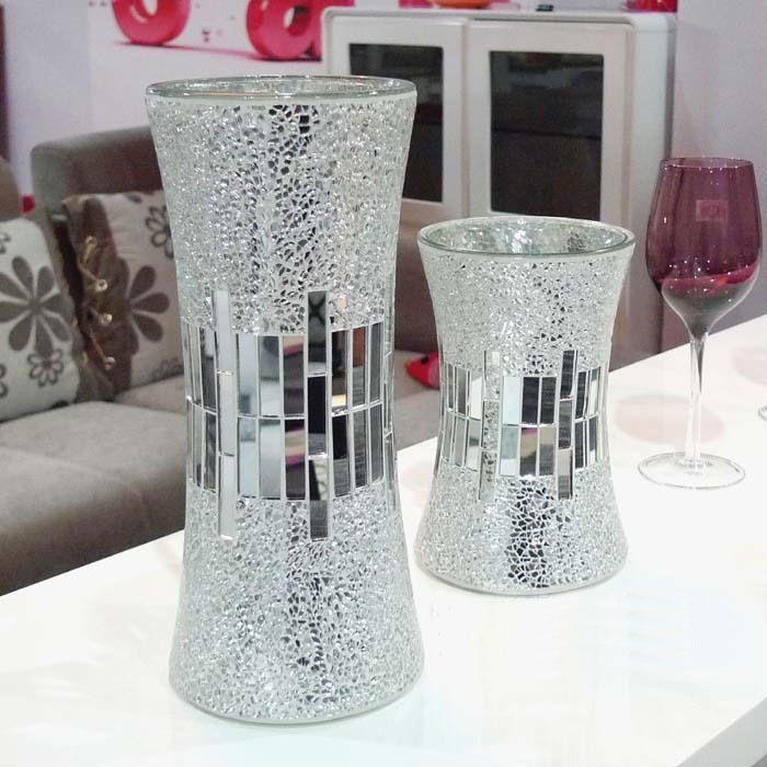 Silver Mirrored Mosaic Glass Vase Buy Mosaic Glass Vaseglass Vase