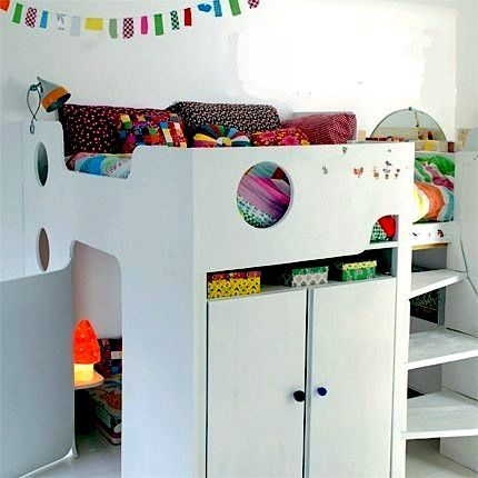 loft bed with hidden play area below loft Pinterest