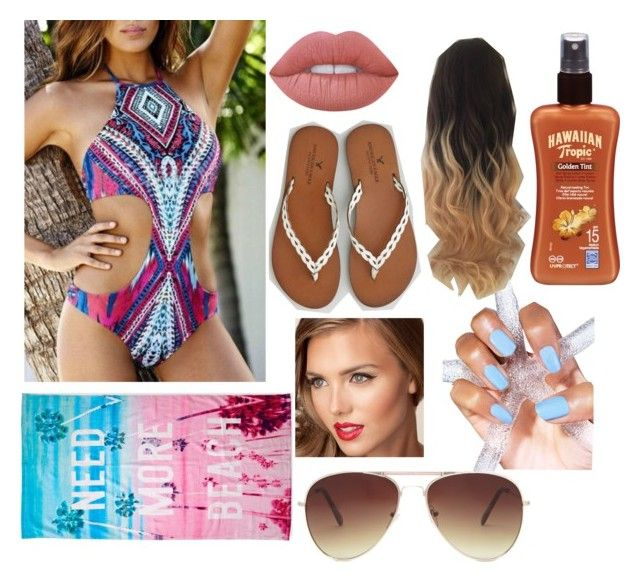 """beach"" by sophie7a ❤ liked on Polyvore featuring beauty, Lime Crime, American Eagle Outfitters, Forever 21, Hawaiian Tropic and Aéropostale"