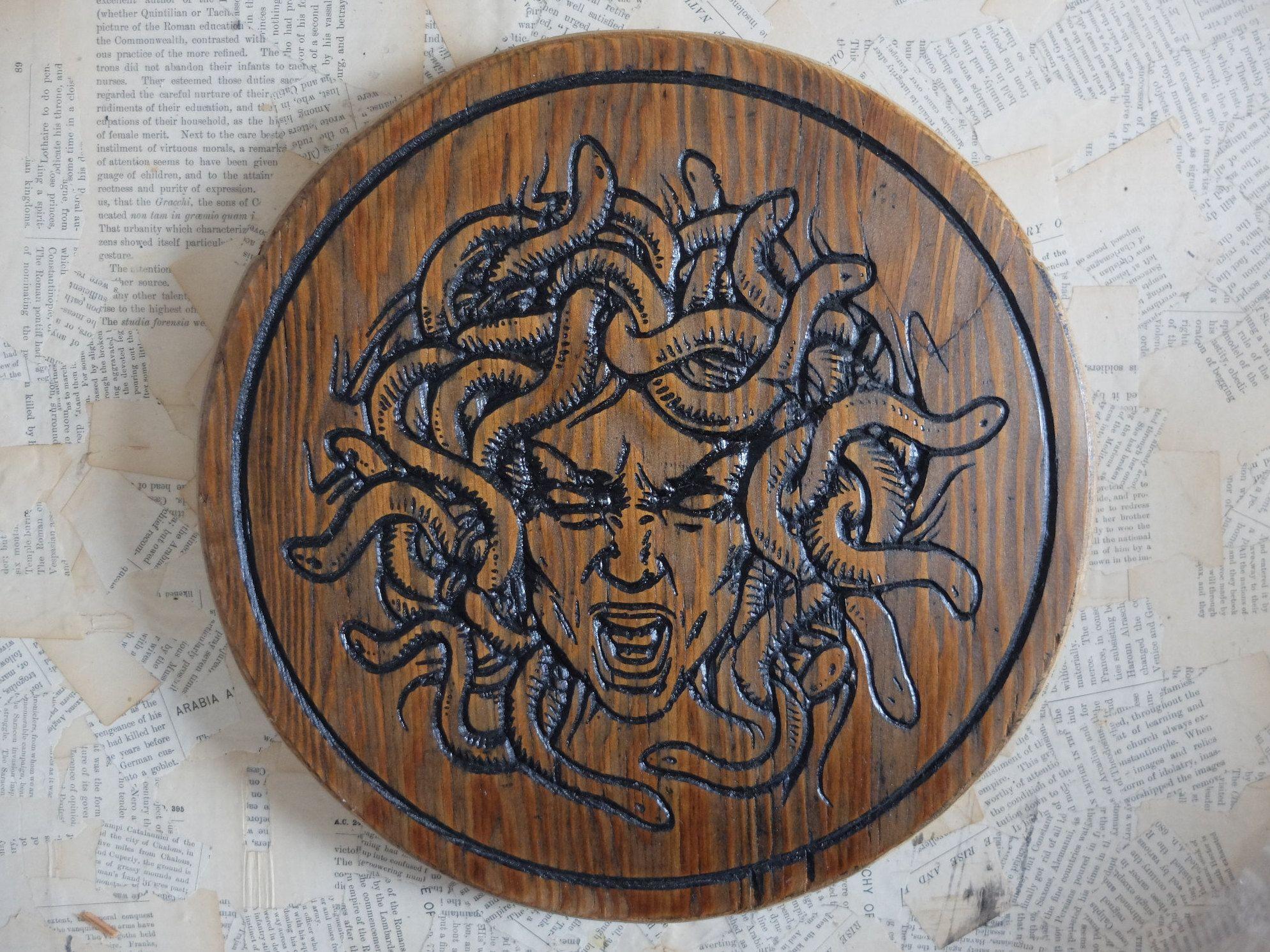 Medusa inspired wood carving wall art altar top greek pantheon