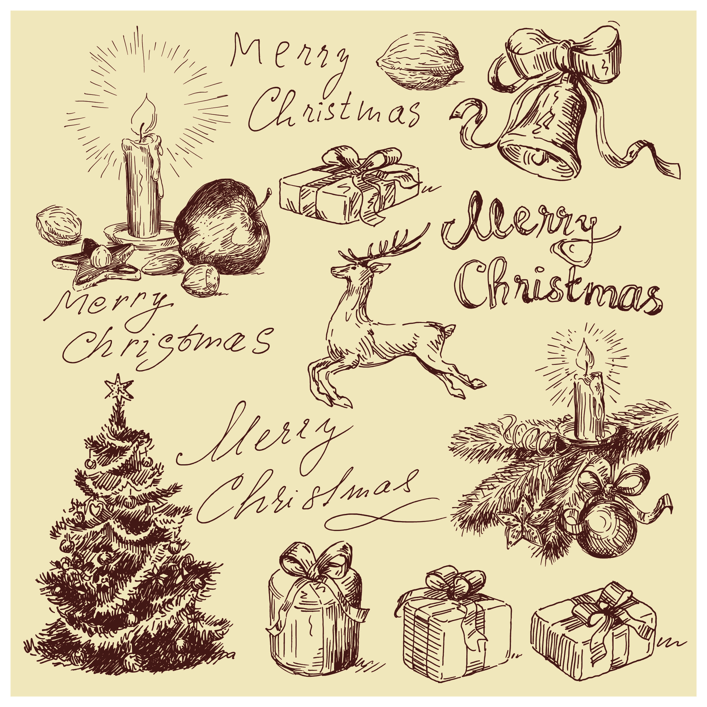 Free Vintage Christmas Card | Merry Christmas Calligraphic   Google Search