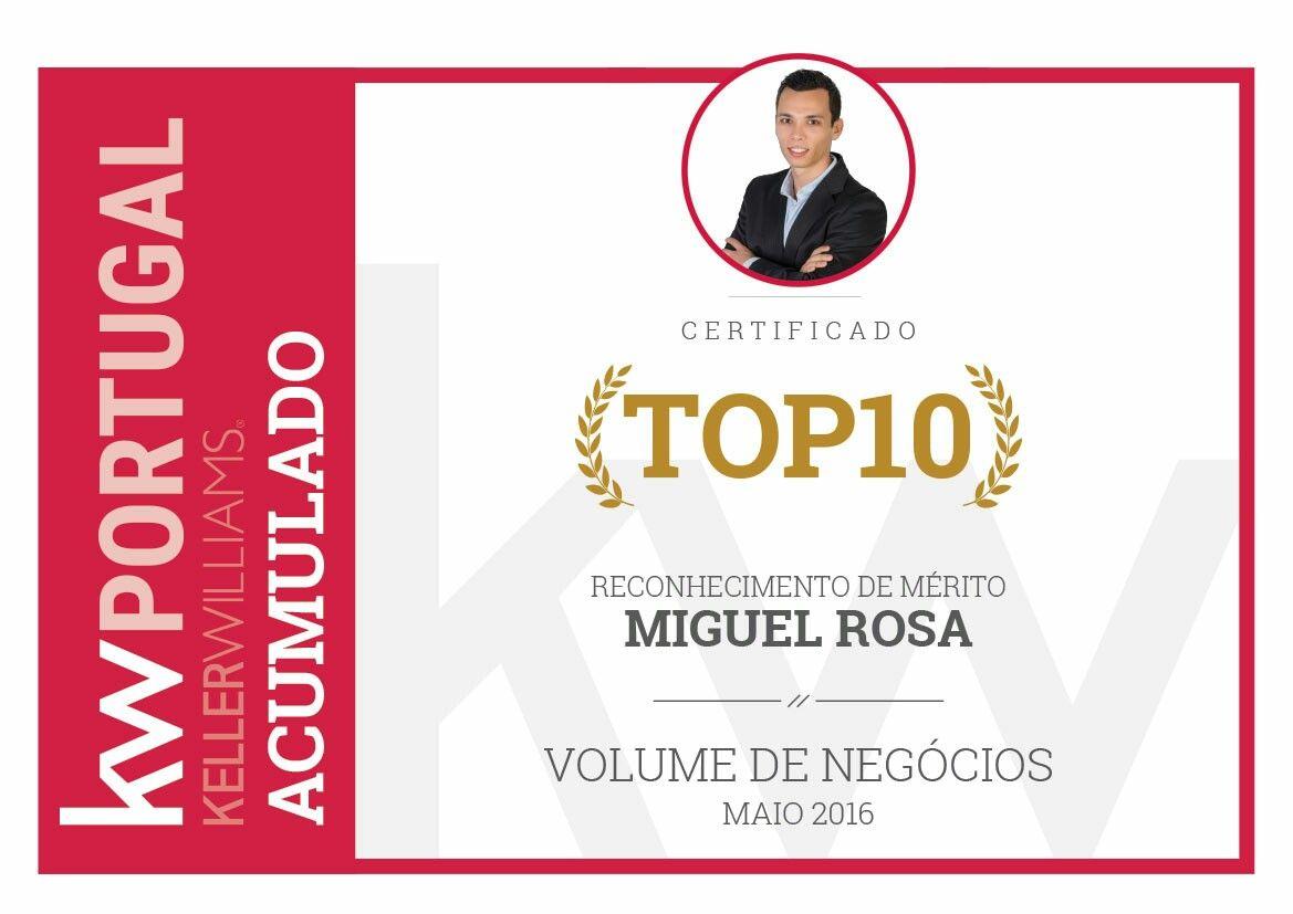 Top 10 em Portugal em volume de negócios acumulado entre Janeiro e Maio de 2016.