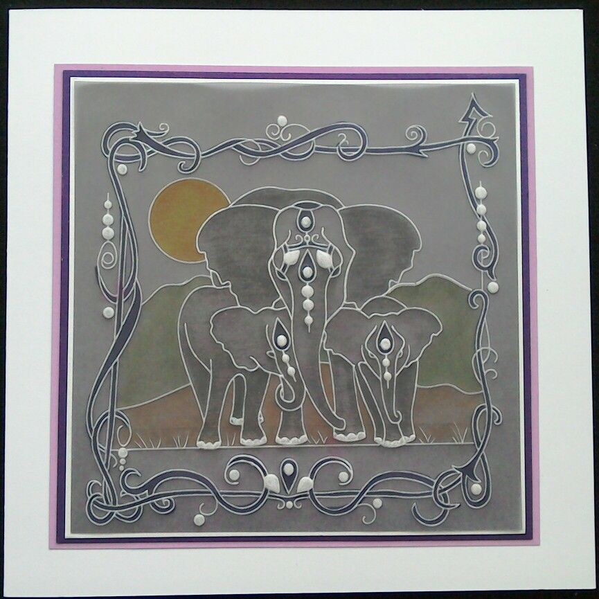 Clarity Groovi Plates - universal framer, landscapes & July 2016 Design Club Member's elephants plate on grey parchment paper - by Lynne Lee ( note to self - get the frame the right way up next time!)