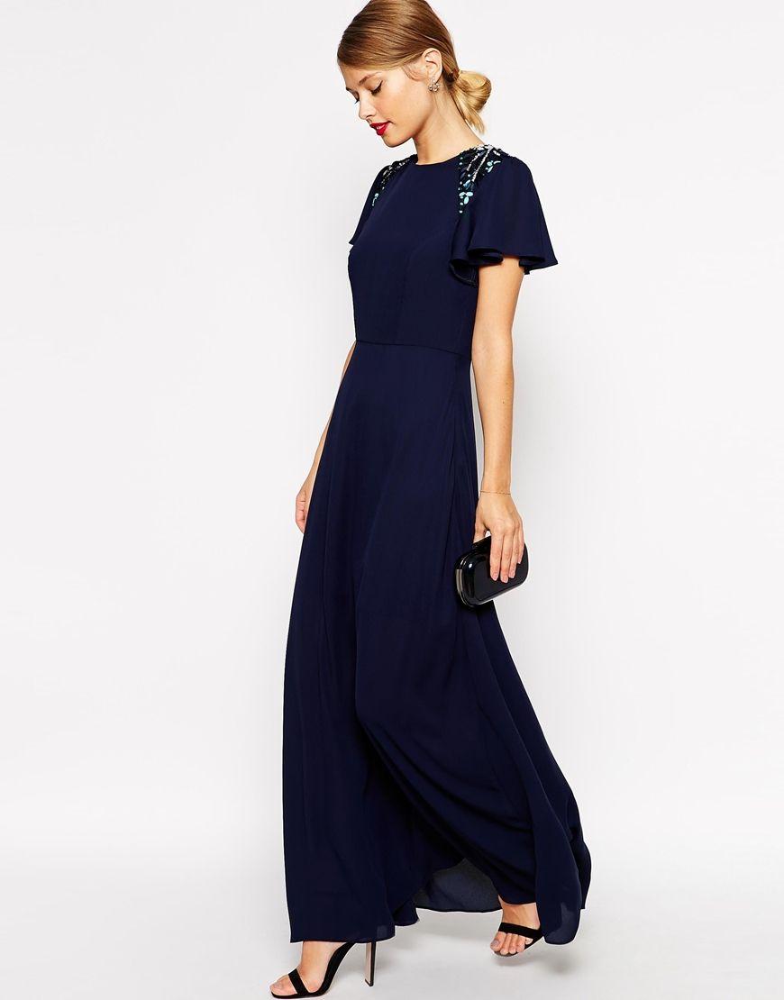 Image of asos sleeved embellished maxi dress wish list