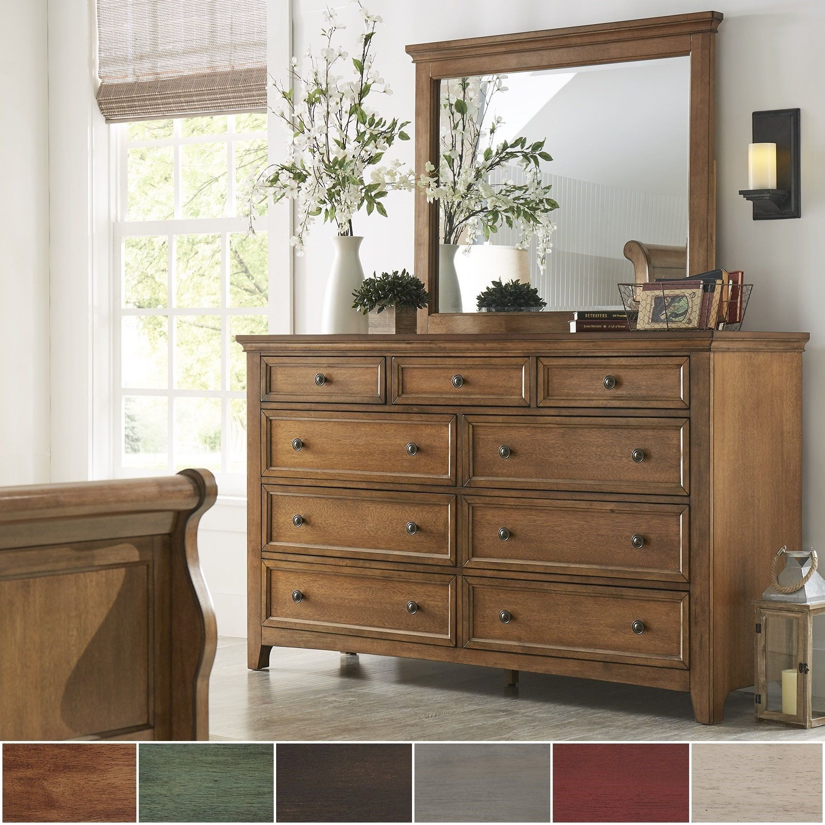 Ediline 9-Drawer Wood Modular Storage Dresser and Mirror by iNSPIRE Q  Classic (Antique