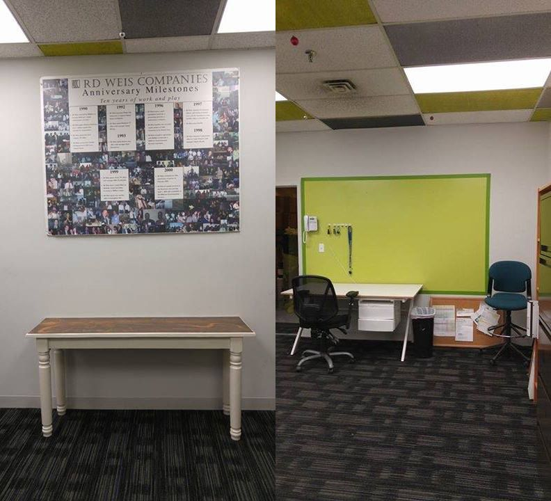 "Our very own, Peter Criscione, gave the RD Weis tech room a brow lift! Brighter lights, a green ""white board"" for better tech/operations communication, painted ceiling tiles to match the office theme and a tired 36"" plain wood table gets recycled. We cut it down to 18"" to make more room. Painted it whit and finished it with a metallic epoxy top thanks t to Frank and Rino Baliva for the free reflector. Techs are excited and more engaged loving their new space."