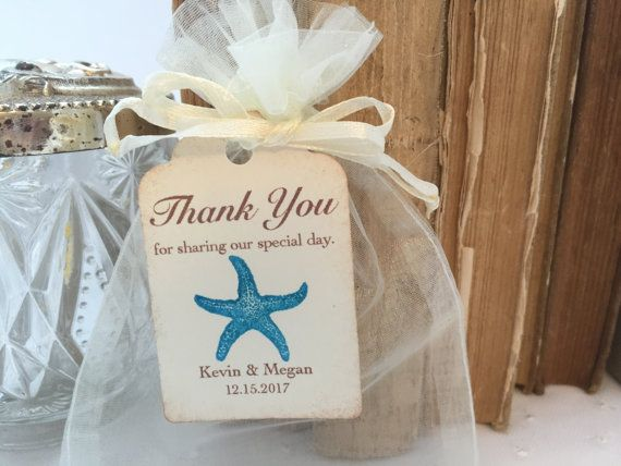 Beach Wedding Favor Bags Aqua Starfish Personalized Tags Set Of 10