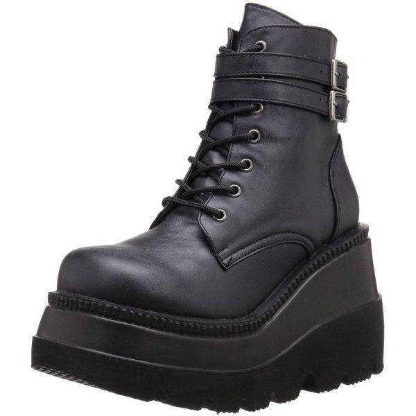 Amazon.com: Demonia Women's Sha52/Bvl Boot, Black Vegan Leather, 8 M... (£26) ❤ liked on Polyvore featuring shoes, boots, demonia, demonia footwear, black vegan boots, kohl shoes and vegan leather shoes