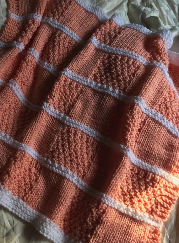Irish Moss Baby Blocks Blanket Knit Pattern Easy Knit Baby Blanket